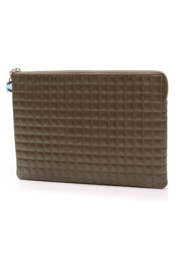 Celine C Charm Quilted Pouch Bag Khaki Calfskin Olive Green