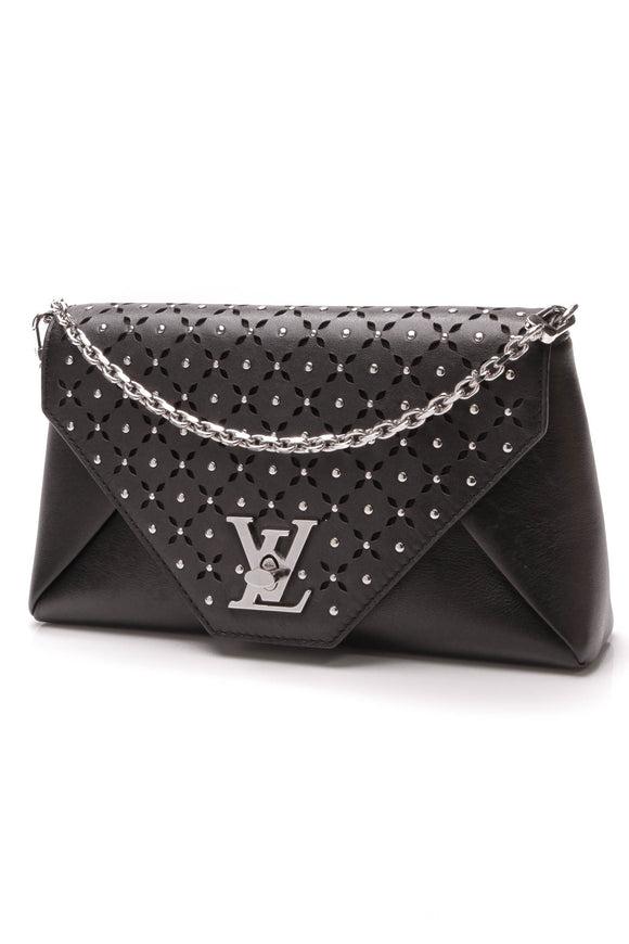 Louis Vuitton Studded Love Note Bag Black Calfskin
