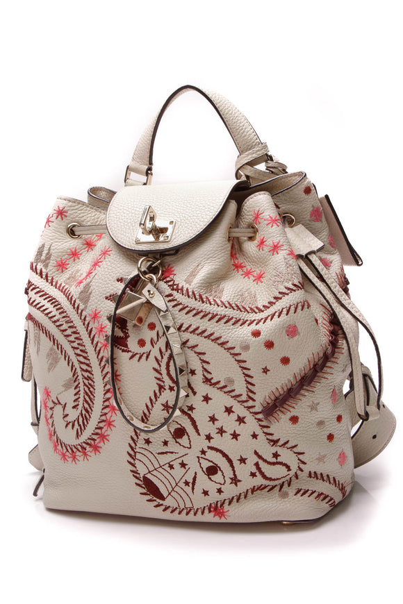 Valentino Rockstud Embroidered Backpack Ivory