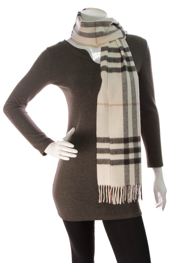 Burberry Check Scarf Ivory Cashmere