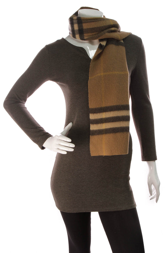 Burberry Check Scarf Brown Cashmere