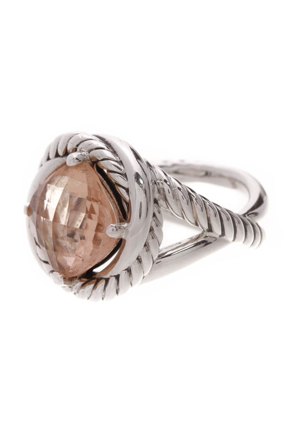 David Yurman Morganite Infinity Ring Silver Size 8