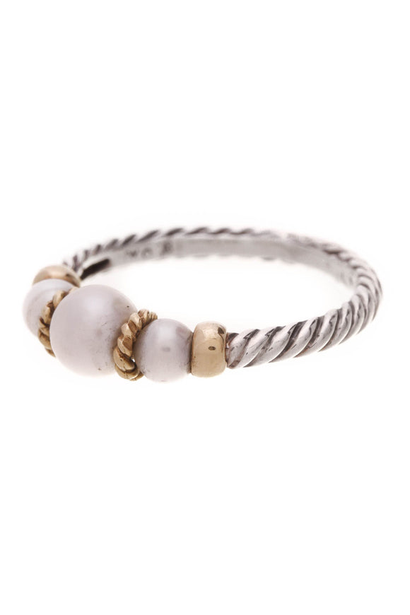 David Yurman Tri-Pearl Hampton Cable Ring Silver Gold Size 8