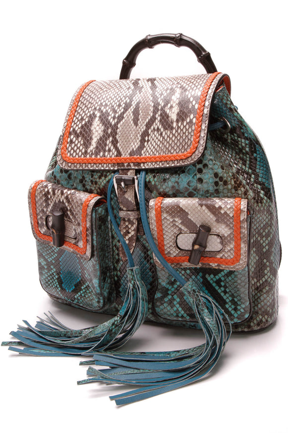 Gucci Limited Edition New Bamboo Python Backpack Multicolor