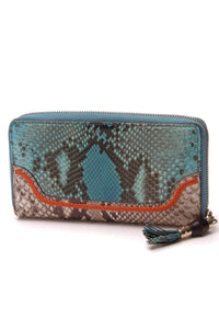 Gucci Python Zip-Around Wallet Aqua