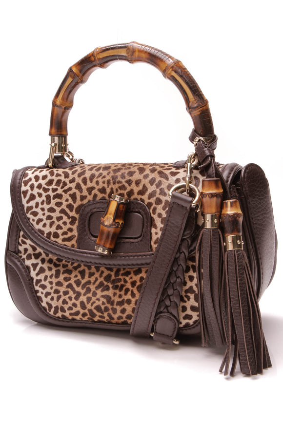 Gucci New Bamboo Leopard Print Convertible Bag Brown
