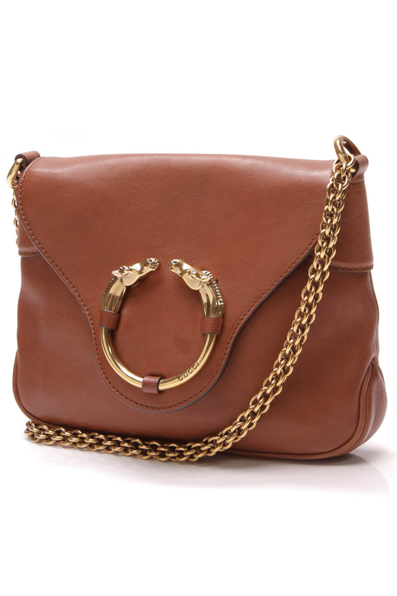 Gucci Ribot Horse-Heads Chain Bag Brown