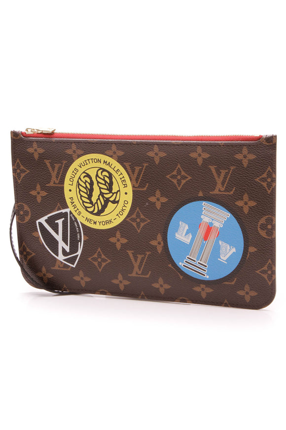 Louis Vuitton World Tour Neverfull Pouch Wristlet Monogram Brown