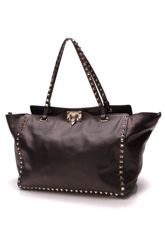 Valentino Rockstud Medium Tote Bag Black