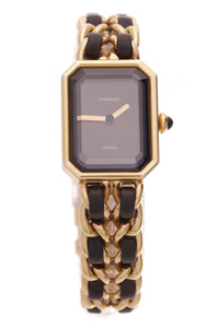 Chanel Vintage Premiere Chain Watch Gold Black