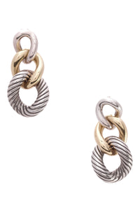 David Yurman Belmont Curb Link Earrings Silver Gold