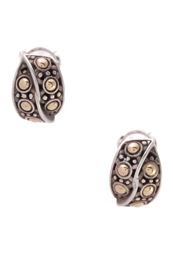 John Hardy Jaisalmer Overlap Dot Earrings Silver Gold