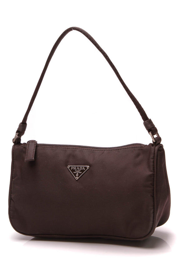 Prada Mini Tessuto Pochette Bag Brown Nylon