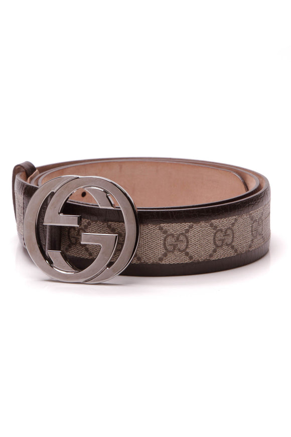 Gucci Interlocking G Buckle Belt Supreme Canvas Brown Size 40