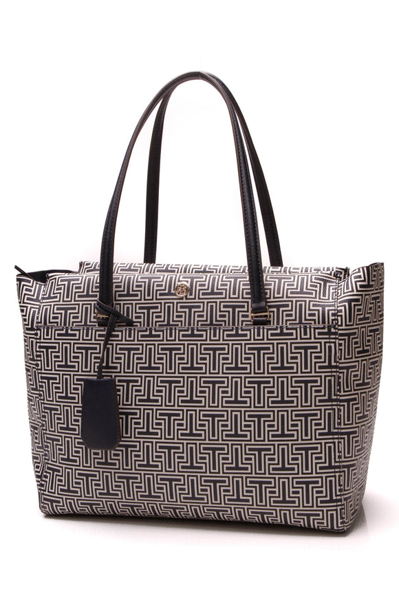 Tory Burch Parker Geo-T Tote Bag Blue White