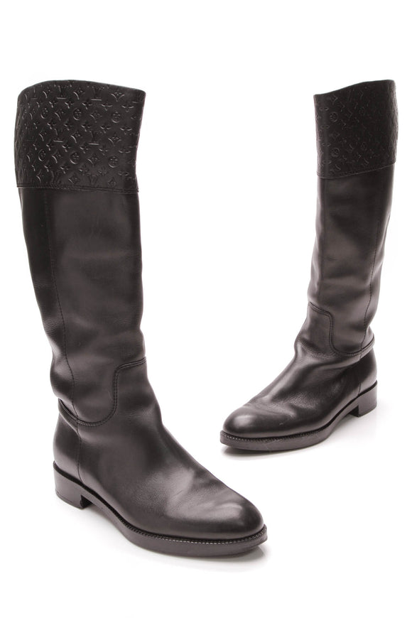 Louis Vuitton Empreinte Knee High Boots Black Size 38.5