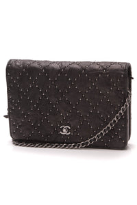 Chanel Paris-Dallas Studded WOC Crossbody Bag Black Crumpled Lambskin