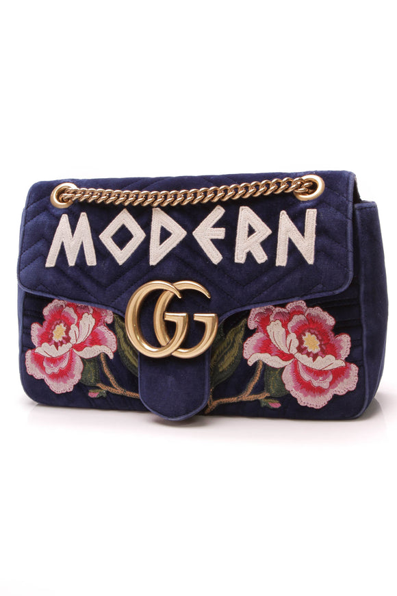 Gucci Modern Marmont Medium Bag Matelasse Velvet Blue