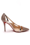 Christian Louboutin Glitter Edith 100 Pumps Gold Size 37