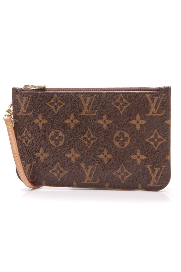 Louis Vuitton Neverfull PM Pouch Wristlet Monogram Brown