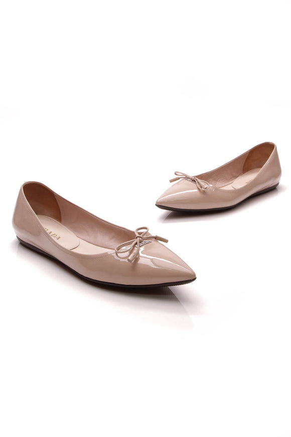 Prada Bow Ballet Flats Nude Patent Size 38.5