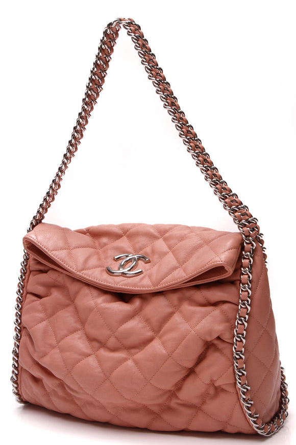 Chanel Chain Around Hobo Bag Salmon Washed Lambskin