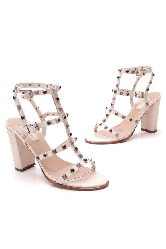 Valentino Rockstud Rolling City Sandals Ivory