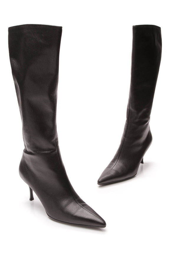 Gucci Pointed-Toe Knee High Boots Black Size 9.5