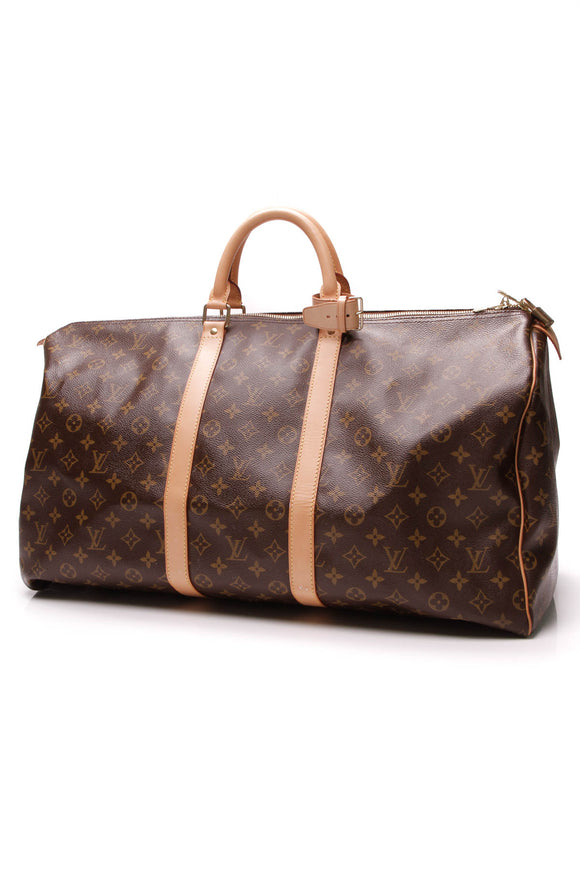 Louis Vuitton Keepall 55 Travel Bag Monogram Canvas Brown