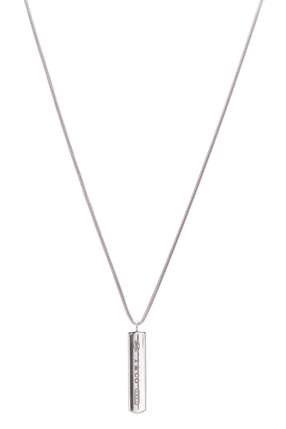 Tiffany & Co. 1837 Bar Pendant Necklace Silver