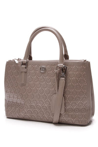 Tory Burch Robinson Laser-Cut Tote Bag Gray