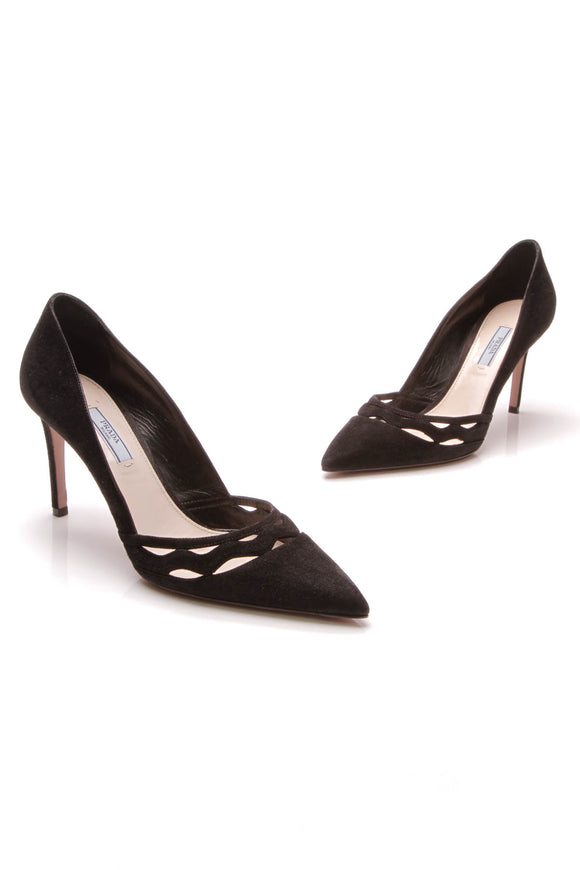 Prada Pointed-Toe Cut-Out Pumps Black Suede Size 40