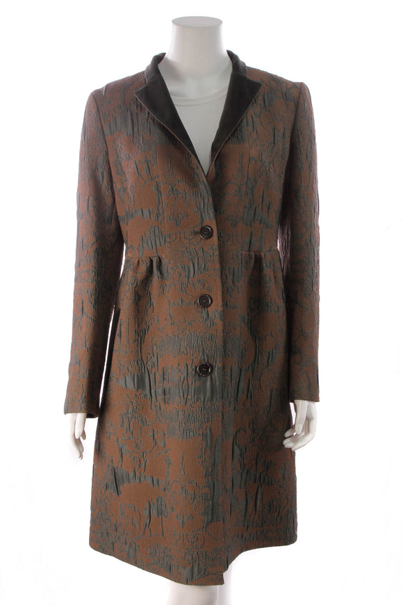 Etro Jacquard Coat Brown Size 44