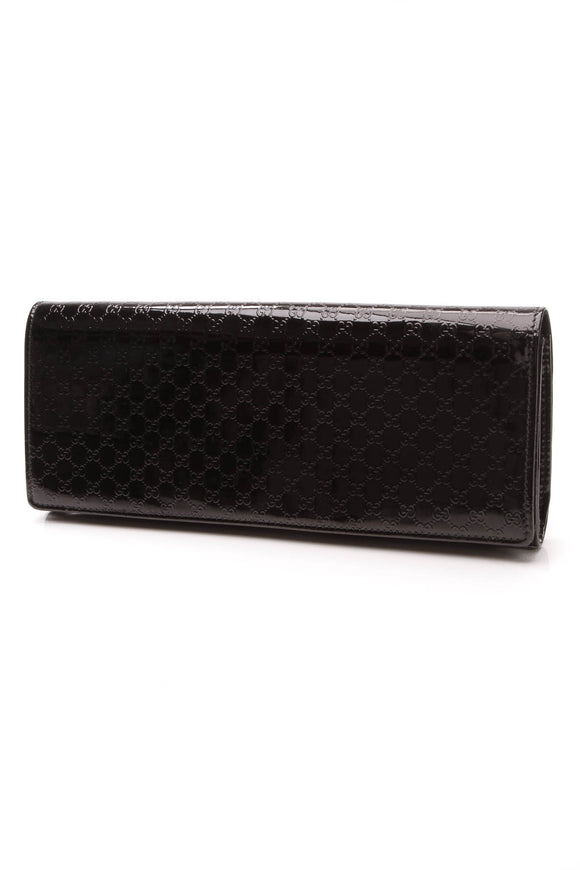Gucci Broadway Clutch Bag Black Patent Microguccissima