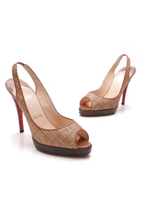 Christian Louboutin Woven Wicker Peep-Toe 120 Platform Pumps Brown Size 40