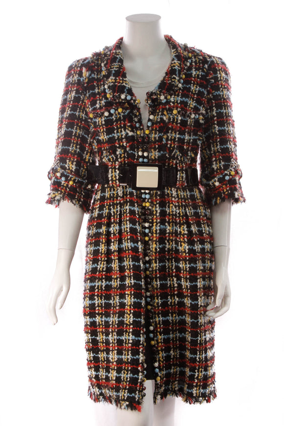 Chanel Beaded Tweed Coat Multicolor Size 42