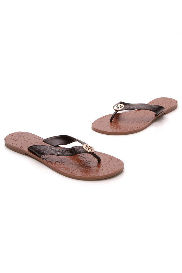 Tory Burch Thora Thong Sandals Black Size 7