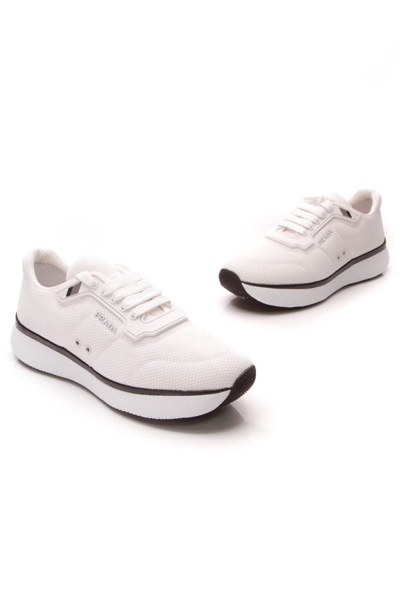 Prada Donna Knit Sneakers White Size 39.5