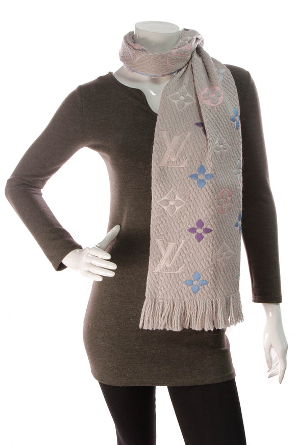 Louis Vuitton Logomania Rainbow Scarf Pearl Gray