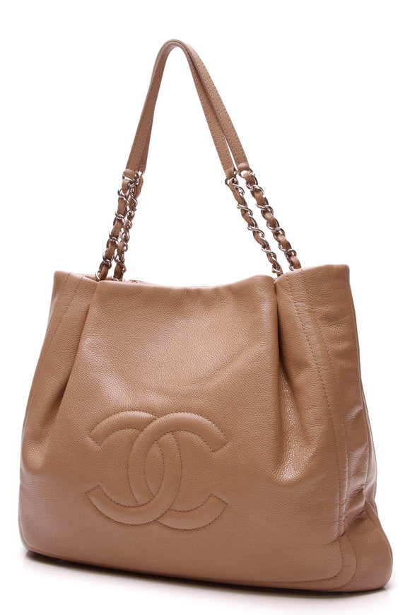 Chanel Timeless CC Pleated Tote Bag Tan Caviar
