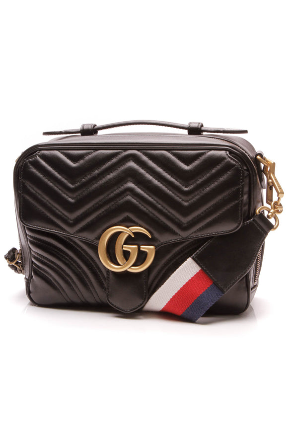 Gucci Marmont Small Shoulder Bag Black Matelasse