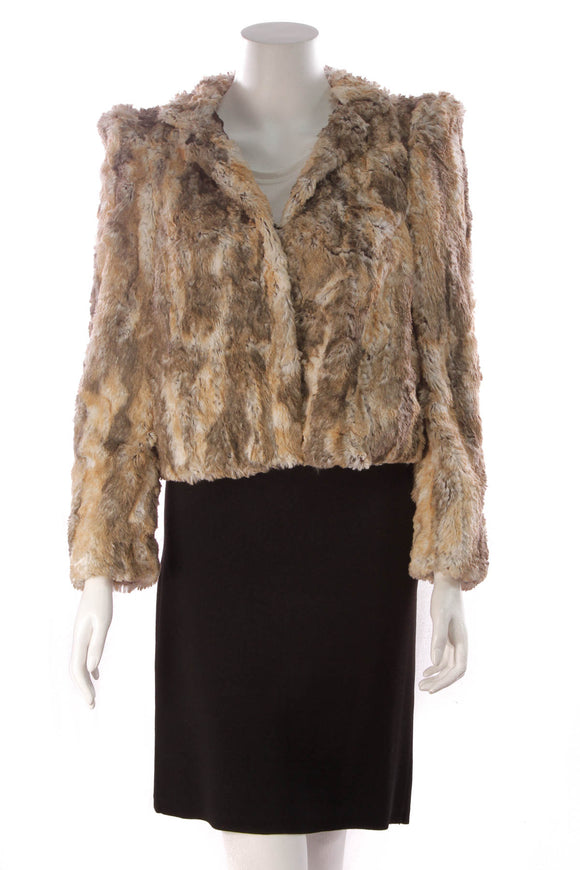 Alice + Olivia Faux Fur Jacket Brown Size Medium