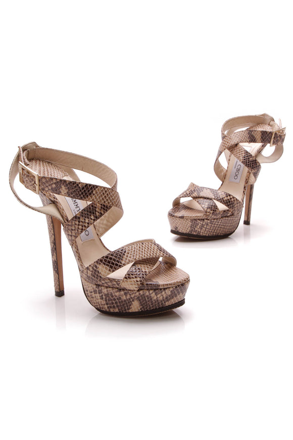 Jimmy Choo Embossed Snakeskin Platform Heeled Sandals Beige Size 35