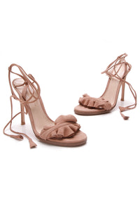Gianvito Rossi Ruffle Ankle-Wrapped Sandals Praline Suede Size 35.5 Nude