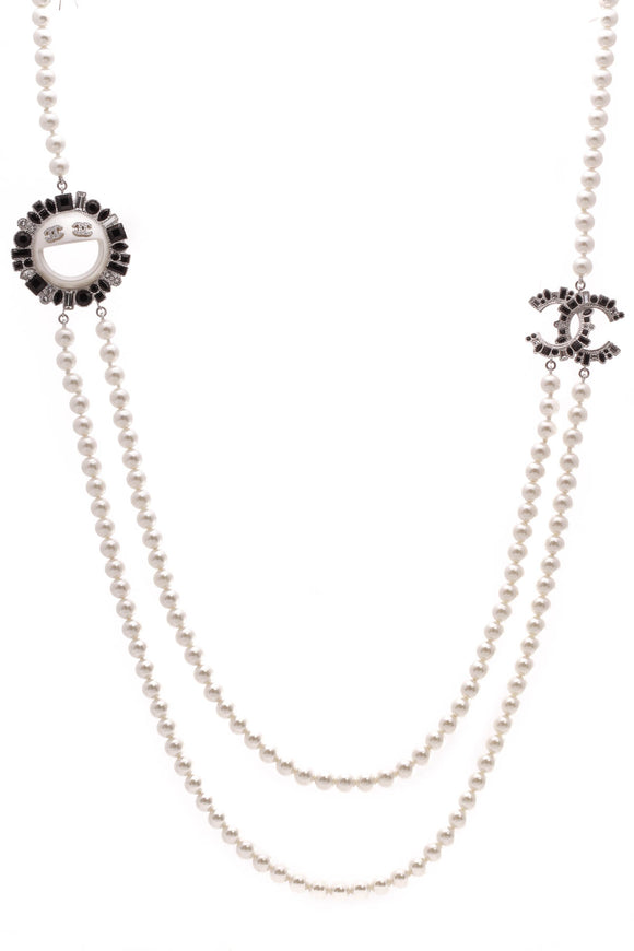 Chanel Pearl Smiley Face Emoji Long Necklace Silver