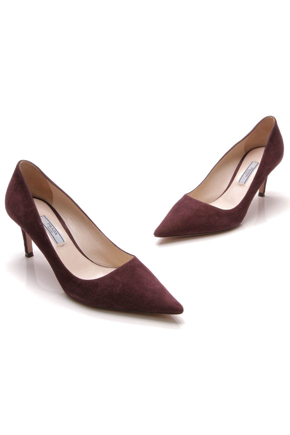 Prada Pointed Toe Pumps Violet Suede Size 38 Purple