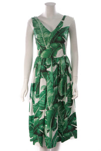Dolce & Gabbana Banana Leaf Print Dress Green White Size 40