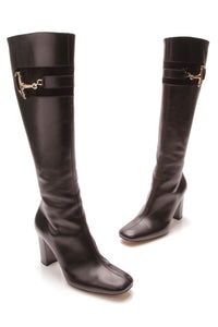 Gucci Horse bit Knee High Boots Black Size 38.5