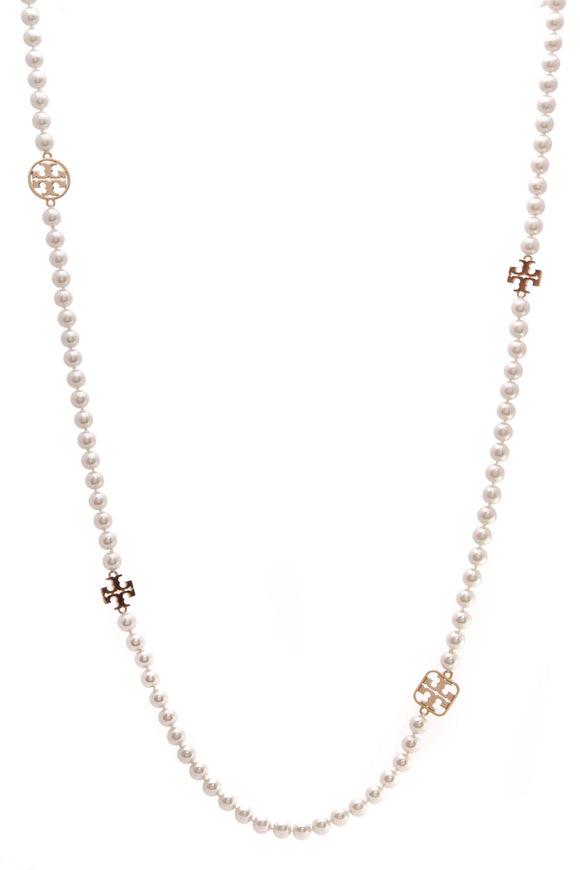 Tory Burch Faux Pearl Long Necklace Gold