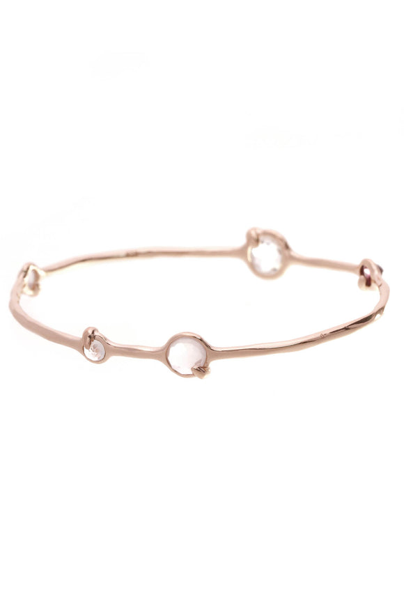Ippolita Clear Quartz Rose Amethyst Bangle Bracelet Rose Plated
